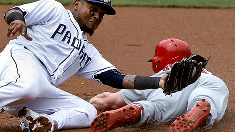 St. Louis Cardinals' Harrison Bader, right, slides under the tag by San Diego Padres shortstop Erick Aybar to steal second base during the second inning of a baseball game in San Diego, Monday, Sept. 4, 2017. (AP Photo/Alex Gallardo)