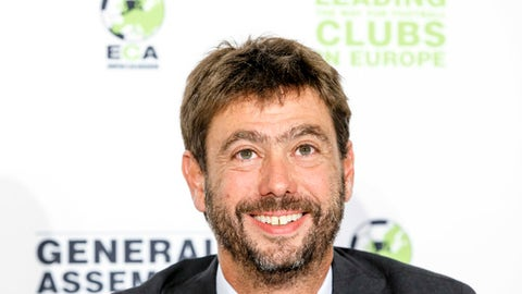The new chairman of the European Club Association, ECA, Italy's Andrea Agnelli attends a news conference after the plenary general assembly of the European Club Association, ECA, in Geneva, Switzerland, Tuesday, Sept. 5, 2017. (Salvatore Di Nolfi/Keystone via AP)