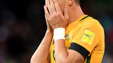 Australia's Tomi Juric reacts after the World Cup Group B qualifying soccer match against Thailand in Melbourne, Australia, Tuesday, Sept. 05, 2017. (AP Photo/Andy Brownbill)
