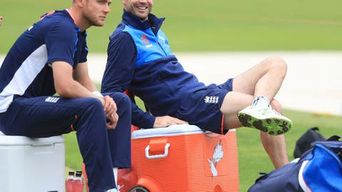 England's Stuart Broad, left, and James Anderson relax during their nets session at Lords in London, Tuesday Sept. 5, 2017. With the series tied at 1-1, the third and final Test against England will start Thursday Sept.7. (Adam Davy/PA via AP)