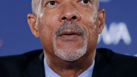 FILE - In this Dec. 7, 2015, file photo, University of Virginia athletic director Craig Littlepage speaks during a news conference in Charlottesville, Va. Littlepage is retiring after 16 years as Virginia's athletic director. Littlepage made the announcement Tuesday, Sept. 5, 2017. (AP Photo/Steve Helber, File)
