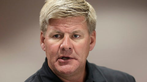 Carolina Hurricanes coach Bill Peters responds to questions during the NHL hockey team's media day in Raleigh, N.C., Tuesday, Sept. 5, 2017. (AP Photo/Gerry Broome)