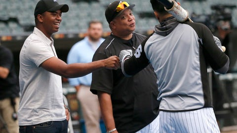 Eloy Jimenez, left, an outfielder with the Birmingham Barons, Double-A affiliate of the Chicago White Sox, bumps fists with White Sox right fielder Avisail Garcia, right, as hitting coach Todd Steverson listens before a baseball game between the White Sox and Cleveland Indians on Tuesday, Sept. 5, 2017, in Chicago. (AP Photo/Charles Rex Arbogast)