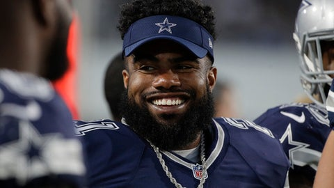 FILE - This Aug. 12, 2017 file photo shows Dallas Cowboys running back Ezekiel Elliott looking on from the sidelines during the second half of a preseason NFL football game against the Los Angeles Rams in Los Angeles. Elliott's attorneys say his six-game suspension over a domestic violence case has been upheld, but he will play the opener because of the timing of the arbitrator's decision. Elliott attorney Jeffrey Kessler told the judge near the end of a more than two-hour hearing in federal court Tuesday, Sept. 5, 2017 that his suspension was sustained by arbitrator Harold Henderson. (AP Photo/Jae C. Hong, file)