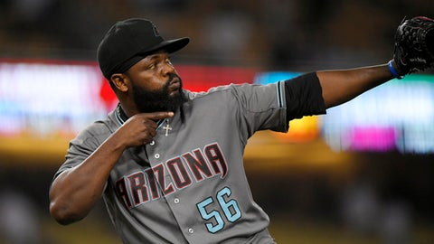 Arizona Diamondbacks relief pitcher Fernando Rodney gestures after the Diamondbacks defeated the Los Angeles Dodgers 3-1 in a baseball game, Tuesday, Sept. 5, 2017, in Los Angeles. (AP Photo/Mark J. Terrill)