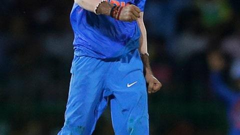 India's Yuzvendra Chahal celebrates the dismissal of Sri Lanka's Dasun Shanaka during their only Twenty20 cricket match in Colombo, Sri Lanka, Wednesday, Sept. 6, 2017. (AP Photo/Eranga Jayawardena)