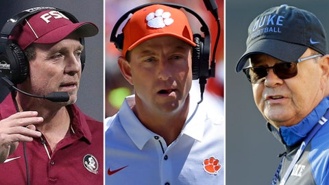 FILE - From left are 2017 file photos showing Florida State coach Jimbo Fisher, Clemson coach Dabo Swinney and Duke coach Davie Cutcliffe. The Atlantic Coast Conference kept the same look with its head coaches for the first time in more than a decade. (AP Photo/File)