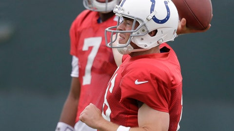 Indianapolis Colts quarterback Scott Tolzien throws as quarterback Jacoby Brissett watches during an NFL football practice, Wednesday, Sept. 6, 2017, in Indianapolis. (AP Photo/Darron Cummings)