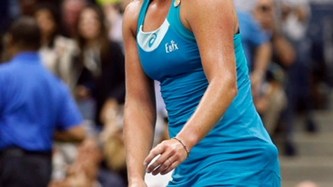 CoCo Vandeweghe, of the United States, reacts after winning her match with Karolina Pliskova, of Czech Republic, during the quarterfinals of the U.S. Open tennis tournament, Wednesday, Sept. 6, 2017, in New York. (AP Photo/Jason Decrow)