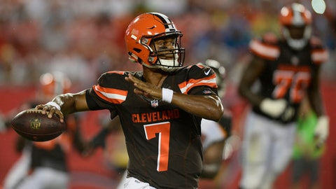 FILE - In this Saturday, Aug. 26, 2017, file photo, Cleveland Browns quarterback DeShone Kizer (7) throws against the Tampa Bay Buccaneers during the second quarter of an NFL preseason football game in Tampa, Fla. On Sunday, when the Browns take on the Pittsburgh Steelers, rookie Myles Garrett and Kizer will both get their first taste of one of the NFL's fiercest rivalries. (AP Photo/Jason Behnken, File)