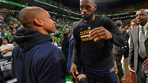 BOSTON, MA - MAY 25:  Isaiah Thomas #4 of the Boston Celtics and LeBron James #23 of the Cleveland Cavaliers hug after Game Five of the Eastern Conference Finals during the 2017 NBA Playoffs on May 25, 2017 at the TD Garden in Boston, Massachusetts. NOTE TO USER: User expressly acknowledges and agrees that, by downloading and or using this photograph, User is consenting to the terms and conditions of the Getty Images License Agreement. Mandatory Copyright Notice: Copyright 2017 NBAE  (Photo by Jesse D. Garrabrant/NBAE via Getty Images)