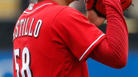 Cincinnati Reds starting pitcher Luis Castillo reacts after closing the eighth inning of a baseball game against the Milwaukee Brewers, Wednesday, Sept. 6, 2017, in Cincinnati. The Reds won 7-1. (AP Photo/John Minchillo)