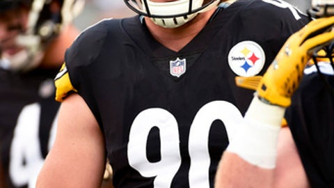 FILE--In this Aug. 26, 2017, file photo, Pittsburgh Steelers linebacker T.J. Watt (90) warms up before an NFL preseason football game against the Indianapolis Colts in Pittsburgh. Watt has spent his entire life being J.J. Watt's little brother. The Steelers rookie is ready to step out of the shadow. He'll start at linebacker when Pittsburgh opens the season in Cleveland on Sunday. (AP Photo/Fred Vuich, FILE)