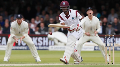 West Indies' Kraigg Brathwaite plays a shot off the bowling of England's James Anderson on the first day of the third test match between England and the West Indies at Lord's cricket ground in London, Thursday, Sept. 7, 2017. (AP Photo/Kirsty Wigglesworth)