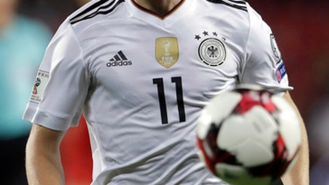 FILE - In this Friday, Sept. 1, 2017 file photo Germany's Timo Werner plays the ball during the World Cup Group C qualifying soccer match between Czech Republic and Germany in Prague, Czech Republic. (AP Photo/Petr David Josek, file)