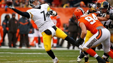 """FILE - In this Nov. 20, 2016, file photo, Pittsburgh Steelers quarterback Ben Roethlisberger (7) gets off a pass under pressure from Cleveland Browns defensive end Carl Nassib (94) during an NFL football game in Cleveland. DeShone Kizer's connections with Roethlisberger go deeper than their shared Ohio roots, rocket right arms and jersey numbers. Kizer has even owned Big Ben. """"I'm sure I drafted him in fantasy leagues,"""" Cleveland's rookie quarterback said. Things are about to get very real on Sunday for Kizer, who make his NFL regular-season debut against one of his boyhood idols–and one of the league's nastiest defenses–when the Browns host Roethlisberger and the Pittsburgh Steelers in their opener. (AP Photo/Ron Schwane, File)"""