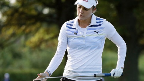 Lexi Thompson reacts after missing a putt on the 11th green during the first round of the Indy Women in Tech Championship golf tournament, Thursday, Sept. 7, 2017, in Indianapolis. (AP Photo/Darron Cummings)