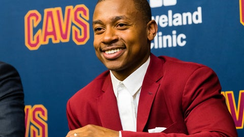 INDEPENDENCE, OH - SEPTEMBER 7: Isaiah Thomas is introduced as a Cleveland Cavalier at Cleveland Clinic Courts on September 7, 2017 in Independence, Ohio. NOTE TO USER: User expressly acknowledges and agrees that, by  downloading and or using this photograph, User is consenting to the  terms and conditions of the Getty Images License Agreement. (Photo by Jason Miller/Getty Images)