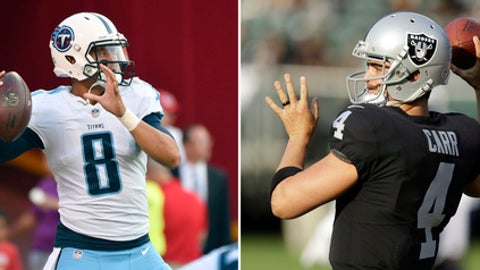 FILE - At left, in an Aug. 31, 2017, file photo, Tennessee Titans quarterback Marcus Mariota (8) warms up before an NFL preseason football game against the Kansas City Chiefs in Kansas City, Mo. At right, in an Aug. 19, 2017, file photo, Oakland Raiders quarterback Derek Carr warms up before an NFL preseason football game against the Los Angeles Rams, in Oakland, Calif. Carr and the Raiders open the season against Mariota and the Titans. (AP Photo/File)
