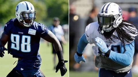 FILE - At left, in a July 30, 2017, file photo, Tennessee Titans outside linebacker Brian Orakpo runs a a defensive play during NFL football training camp in Nashville, Tenn. At right, in an Aug. 17, 2017, file photo, Tennessee Titans linebacker Erik Walden runs a play during an NFL football training camp in Nashville, Tenn. The Titans have put together quite a group of defenders, and Oakland's Derek Carr is their first target.(AP Photo/File)