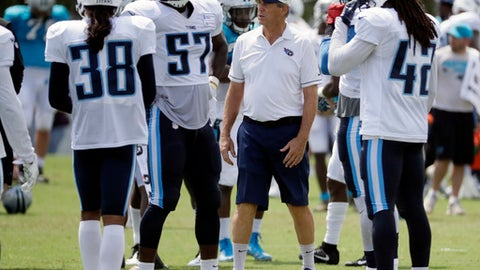 In this Aug. 16, 2017 photo, Tennessee Titans defensive coordinator Dick LeBeau, center, talks with Manny Abad (38), Justin Staples (57) and Denzel Johnson (42) during NFL football training camp in Nashville, Tenn. LeBeau used to look forward to his birthday coinciding with the start of a brand new football season. Now, about to turn 80 as he starts his 59th NFL season, LeBeau remains hard at work as the Titans' defensive coordinator. (AP Photo/Mark Humphrey)