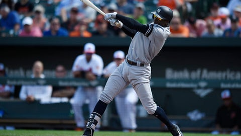 New York Yankees' Didi Gregorius follows through on a single against the Baltimore Orioles in the third inning of a baseball game, Thursday, Sept. 7, 2017, in Baltimore. (AP Photo/Gail Burton)