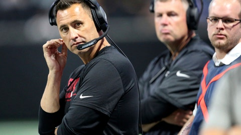 FILE - In this Aug. 31, 2017, file photo,Atlanta Falcons' Steve Sarkisian watches play against the Jacksonville Jaguars during the first half of an NFL football game in Atlanta. Sarkisian is back on the sideline, this time as offensive coordinator of the Atlanta Falcons. (AP Photo/John Bazemore, File)