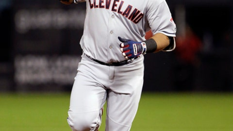 Cleveland Indians' Edwin Encarnacion rounds the bases after hitting a three-run home run during the first inning of a baseball game against the Chicago White Sox, Thursday, Sept. 7, 2017, in Chicago. (AP Photo/Nam Y. Huh)