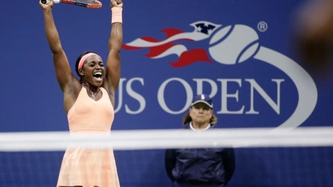Sloane Stephens, of the United States, reacts after defeating Venus Williams, of the United States, during the semifinals of the U.S. Open tennis tournament, Thursday, Sept. 7, 2017, in New York. (AP Photo/Seth Wenig)