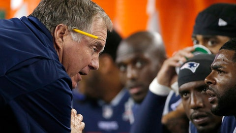 New England Patriots head coach Bill Belichick instructs players on the sideline during the second half of an NFL football game against the Kansas City Chiefs, Thursday, Sept. 7, 2017, in Foxborough, Mass. (AP Photo/Michael Dwyer)