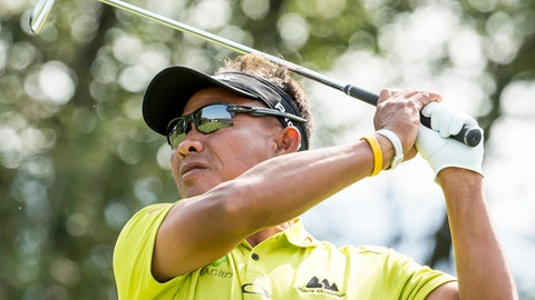 Thongchai Jaidee of Thailand tees off during the second round of the Omega European Masters Golf Tournament in Crans-Montana, Switzerland, Friday, Sept. 8, 2017. (Alexandra Wey/Keystone via AP)