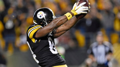 FILE - In this Oct. 2, 2016, file photo, Pittsburgh Steelers wide receiver Antonio Brown (84) dances in celebration after scoring a touchdown in an NFL football game against the Kansas City Chiefs in Pittsburgh . Brown was penalized for the celebration. Freed by NFL officials to let loose in the end zone, Brown hopes to strut his stuff in Sunday's opener in Cleveland.  (AP Photo/Don Wright, File)