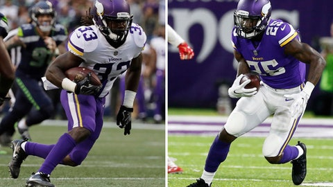 FILE - At left, in an Aug. 18, 2017, file photo, Minnesota Vikings running back Dalvin Cook (33) rushes against the Seattle Seahawks during the first half of an NFL football preseason game, in Seattle. At right, in an Aug. 27, 2017, file photo, Minnesota Vikings running back Latavius Murray (25) runs against the San Francisco 49ers during the first half of an NFL preseason football game, in Minneapolis. Adrian Peterson's return to Minnesota will highlight the Monday night, Sept. 11 opener against New Orleans, but the Vikings have two new running backs to debut with Dalvin Cook and Latavius Murray.(AP Photo/File)