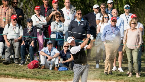 Lee Westwood of England takes a shot from the bunker during the second round of the European Masters Golf Tournament in Crans-Montana, Switzerland, Friday, Sept. 8, 2017. (Alexandra Wey/Keystone via AP)