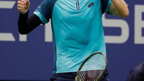 Kevin Anderson, of South Africa, reacts after beating Pablo Carreno Busta, of Spain, during the semifinals of the U.S. Open tennis tournament, Friday, Sept. 8, 2017, in New York. (AP Photo/Julio Cortez)