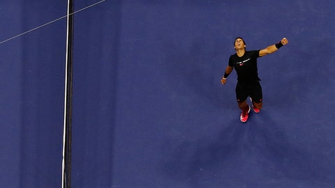 Rafael Nadal, of Spain, celebrates after beating Juan Martin del Potro, of Argentina, during the semifinals of the U.S. Open tennis tournament, Friday, Sept. 8, 2017, in New York. (AP Photo/Julie Jacobson)