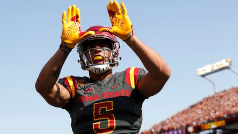 Iowa State wide receiver Allen Lazard celebrates after catching a 5-yard touchdown pass during the first half of an NCAA college football game against Iowa, Saturday, Sept. 9, 2017, in Ames, Iowa. (AP Photo/Charlie Neibergall)