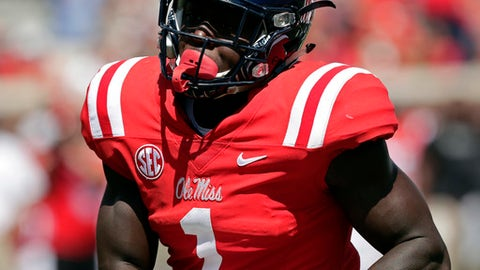 Mississippi wide receiver A.J. Brown (1) sprints towards the end zone for a 58-yard touchdown pass reception against UT Martin in the first half of an NCAA college football game in Oxford, Miss., Saturday, Sept. 9, 2017.(AP Photo/Rogelio V. Solis)
