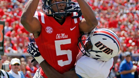 Tennessee Martin defensive back Justin Jackson (5) disrupts a pass intended for Mississippi wide receiver DaMarkus Lodge (5) in the first half of an NCAA college football game in Oxford, Miss., Saturday, Sept. 9, 2017. The pass was ruled incomplete. (AP Photo/Rogelio V. Solis)