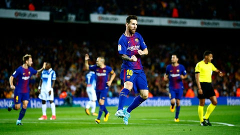 FC Barcelona's Lionel Messi celebrates after scoring during the Spanish La Liga soccer match between FC Barcelona and Espanyol at the Camp Nou stadium in Barcelona, Spain, Saturday, Sept. 9, 2017. (AP Photo/Manu Fernandez)