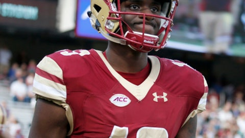 Boston College quarterback Anthony Brown (13) reacts as he leaves the field after throwing a interception during the second half of an NCAA college football game against Wake Forest, Saturday, Sept. 9, 2017, in Boston. (AP Photo/Mary Schwalm)