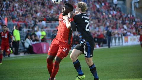 Toronto FC's Jozy Altidore, left, heads the ball in front of San Jose Earthquakes' Florian Jungwirth during first-half MLS soccer match action in Toronto, Saturday, Sept. 9, 2016. (Jon Blacker/The Canadian Press via AP)