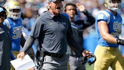 UCLA head coach Jim Mora, center, yells at a referee during the first half of an NCAA college football game against Hawaii in Pasadena, Calif., Saturday, Sept. 9, 2017. (AP Photo/Alex Gallardo)