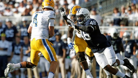 Penn State's Shareef Miller (48) breaks loose for a sack on Pittsburgh quarterback Max Browne (4) during the second half of an NCAA college football game in State College, Pa., Saturday, Sept. 9, 2017. Penn State won 33-14. (AP Photo/Chris Knight)
