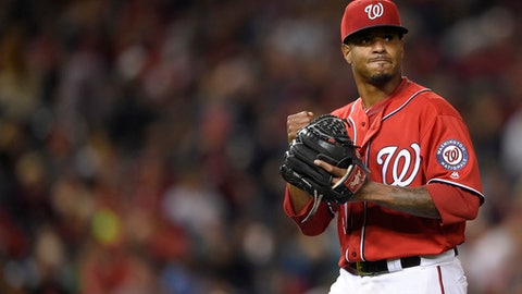 Washington Nationals starting pitcher Edwin Jackson walks toward the dugout after he was pulled from the game during the fourth inning of a baseball game against the Philadelphia Phillies, Saturday, Sept. 9, 2017, in Washington. (AP Photo/Nick Wass)