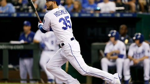 Kansas City Royals' Eric Hosmer watches his RBI single against the Minnesota Twins during the eighth inning of a baseball game at Kauffman Stadium in Kansas City, Mo., Saturday Sept. 9, 2017. (AP Photo/Colin E. Braley)