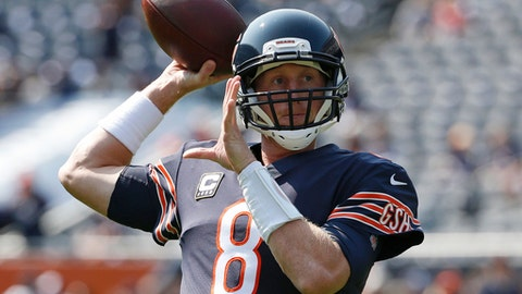 Chicago Bears quarterback Mike Glennon (8) warms up before an NFL football game against the Atlanta Falcons, Sunday, Sept. 10, 2017, in Chicago. (AP Photo/Nam Y. Huh)