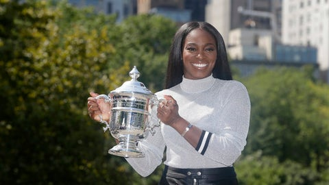 2017 US Open women's champion Sloane Stephens poses for a picture in Central Park in New York, Sunday, Sept. 10, 2017. (AP Photo/Seth Wenig)