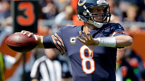 Chicago Bears quarterback Mike Glennon (8) throws during the first half of an NFL football game against the Atlanta Falcons, Sunday, Sept. 10, 2017, in Chicago. (AP Photo/Michael Conroy)