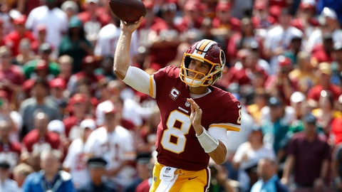 Washington Redskins quarterback Kirk Cousins throws to a receiver in the first half of an NFL football game against the Philadelphia Eagles, Sunday, Sept. 10, 2017, in Landover, Md. (AP Photo/Alex Brandon)